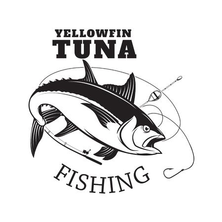 Tuna fishing emblem. Design element for logo, label, emblem, sig Reklamní fotografie - 84511500