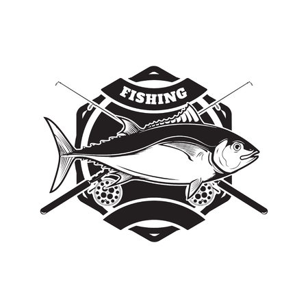 Tuna fishing emblem. Design element for logo, label, emblem, sig
