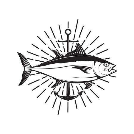 Tuna fishing emblem. Design element for logo, label, emblem, sig Reklamní fotografie - 84511540