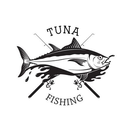 Tuna fishing emblem. Design element for logo, label, emblem, sig Reklamní fotografie - 84511543