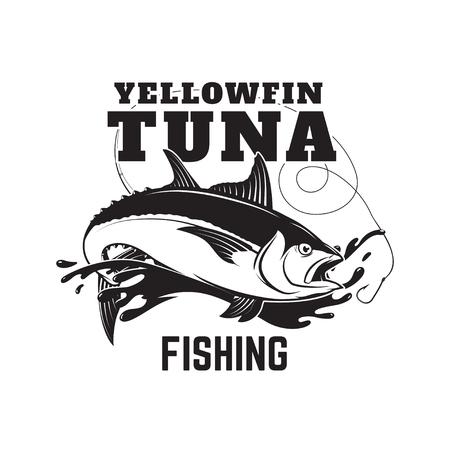 Tuna fishing emblem. Design element for logo, label, emblem, sig Reklamní fotografie - 84511545
