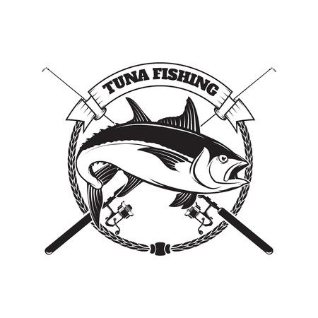Tuna fishing emblem. Design element for logo, label, emblem, sig Reklamní fotografie - 84511544