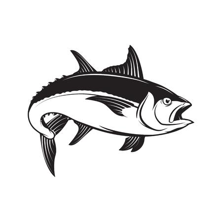 Tuna fish illustration isolated on white background. Design elem