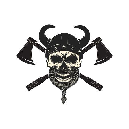 Viking warrior skull in horned helmet. Design element for logo, Reklamní fotografie - 84511550