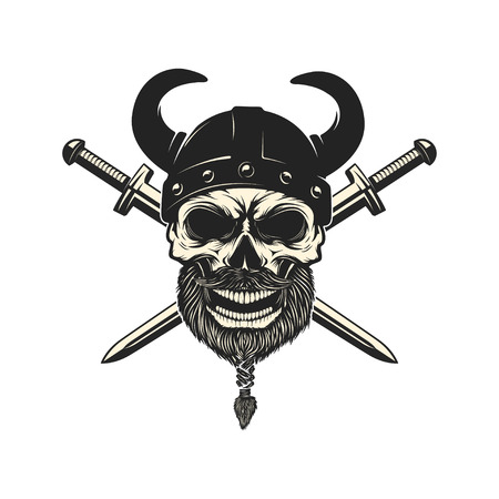Viking warrior skull in horned helmet. Design element for logo, Reklamní fotografie - 84511551
