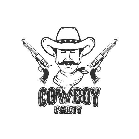 Wild west party emblem template. Design element for logo, label, Reklamní fotografie - 84511556