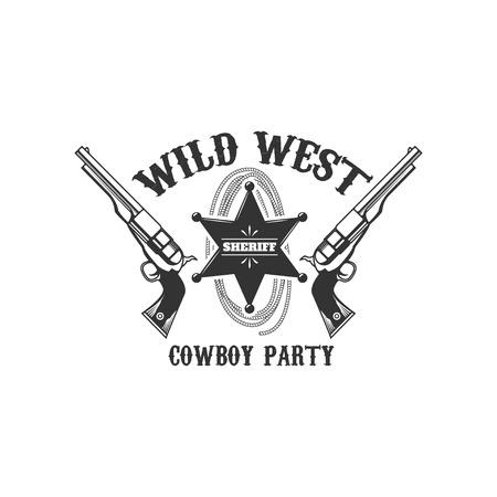 Modello emblema partito selvaggio west. Elemento di design per logo, etichetta, Archivio Fotografico - 84511567