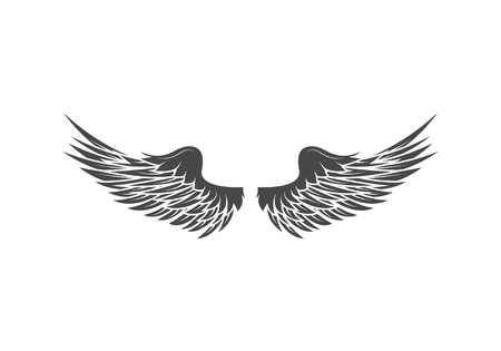 Wings isolated on white background. Design elements for logo, la