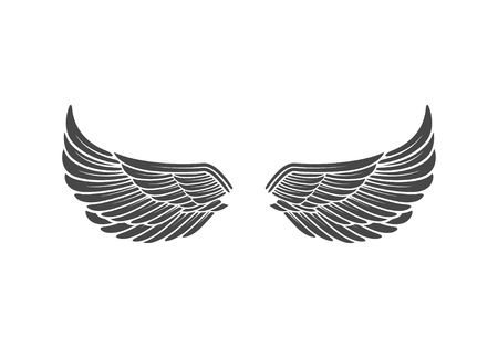 la: Wings isolated on white background. Design elements for logo, la