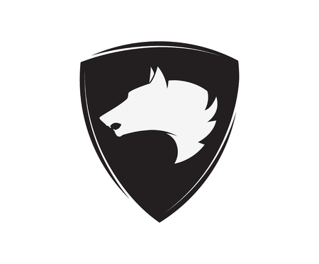 emblem template with wolf head.