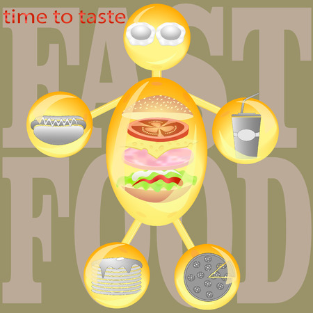fried: Man from glass spheres and tubes with icons  person fast food  vector