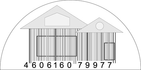 house logo: House from barcode  minimalistic house logo  black and white