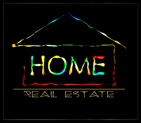 Abstract house with an inscription  real estate  business logo Illustration