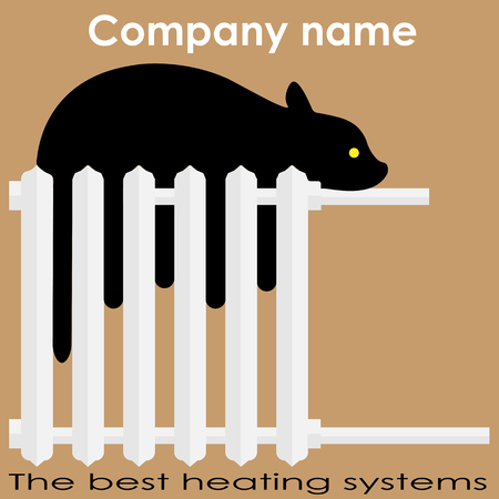 Cat sleeps on the radiator Best heating systems busines logo Vectores