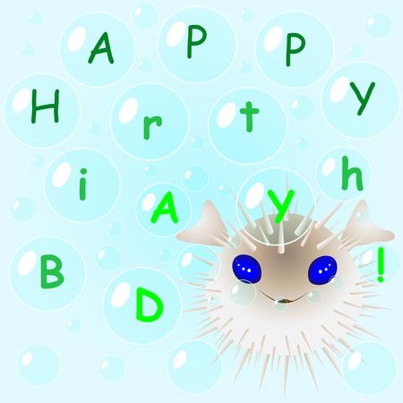 Fugu fish in bubbles congratulates happy birthday