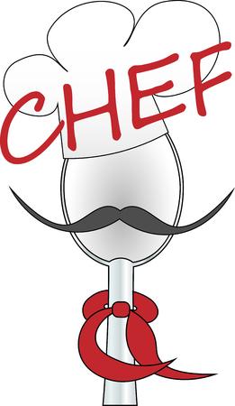 spoon, chef's cap and tie chef art logo