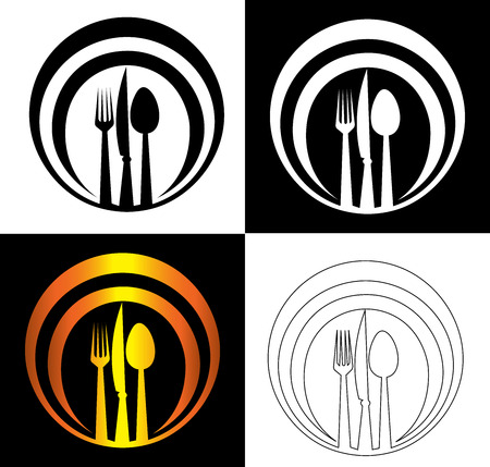 spoon knife and fork on an abstract dish background catering art logo