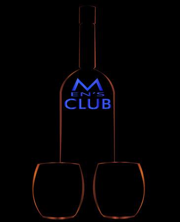 the contours of bottles and glasses men's club minimalist art logo