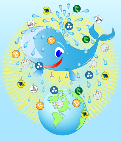 Whale, pouring the Earth with a fountain of crypto currency and water Whale business logo.