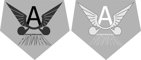 Stylized pictures with A and wings anunnaki concept logo