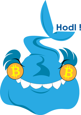 Satisfied whale with bitcoins in the eyes Hodl art logo-illustration