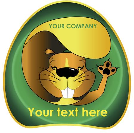 Joyful beaver for the logo beaver funny logo Çizim