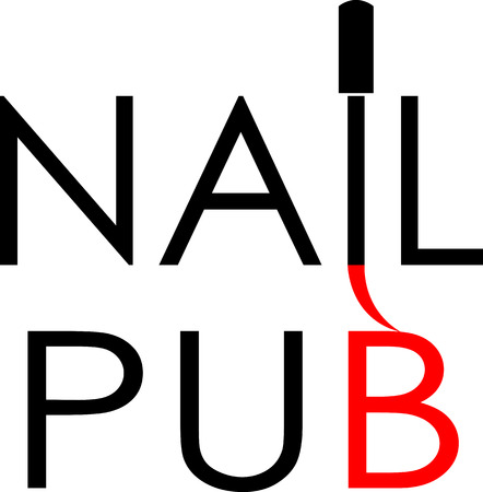 text logo for nail service with a brush pub minimalist logo
