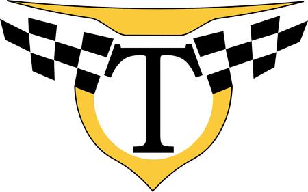 schwarzer Buchstabe T mit dem Emblem des minimalistischen Taxi-Logos Logo