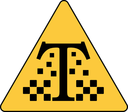 black letter T with the emblem of the taxi minimalist logo