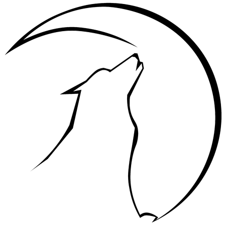 silhouette of wolf howling at the moon minimalist logo, tattoo Logo