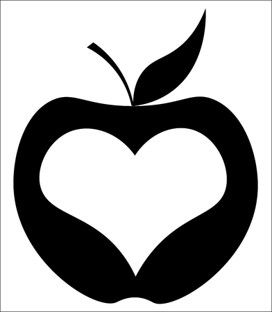 apple with heart in the center, new york minimalist logo