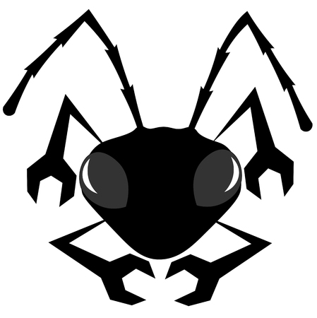 silhouette with paws in the form of a wrench an ant minimalist logo