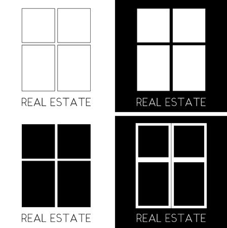 ventana de los rectángulos en diferentes versiones logo minimalista inmobiliario