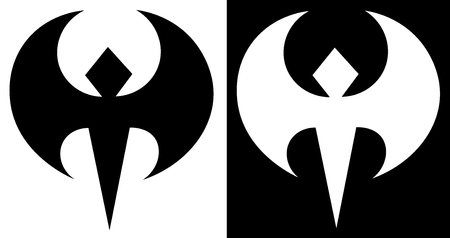 stylization of the bat in two versions of the abstract minimalist logo