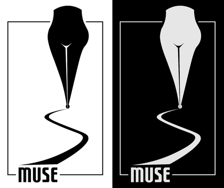 The poets pen with female forms of muse minimalism art logo Illustration