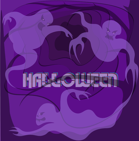 three ghosts on an ultraviolet background with a spiky tree of a halloween creative logo, art postcard