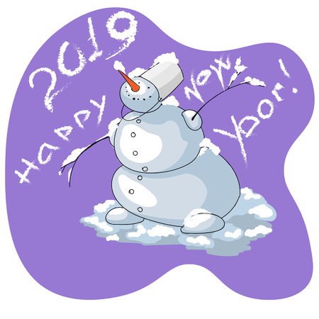 art snowman congratulates happy new year drawn by hand on ultraviolet background
