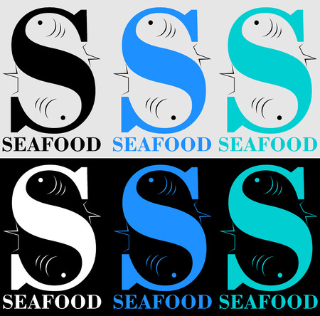 fish letter s for a seafood store or restaurant with negative space Illustration