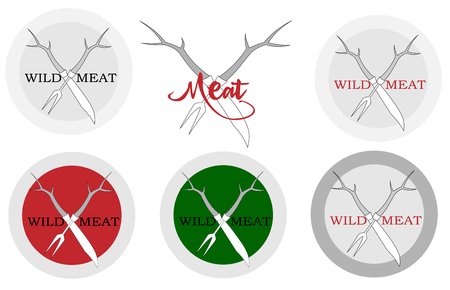 knife and meat fork with deer horns logo for a restaurant