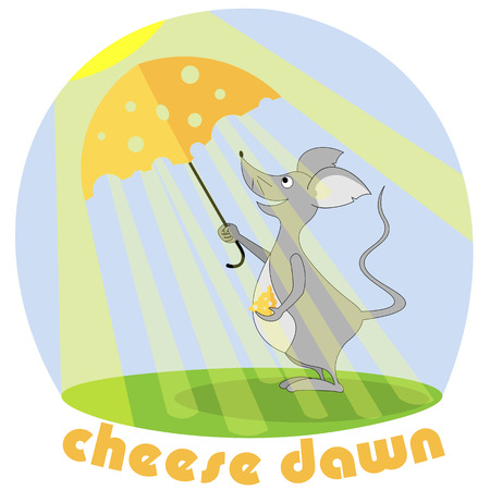 Mouse with a slice of cheese and an umbrella from the sun