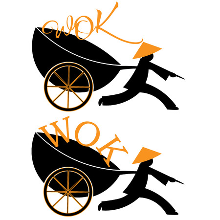 logo Chinese food delivery man running with the wok and wok on wheels Illustration