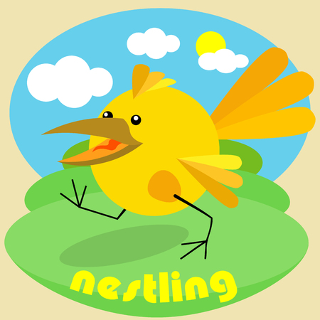 chick walks on the green grass against the sky and the sun  イラスト・ベクター素材