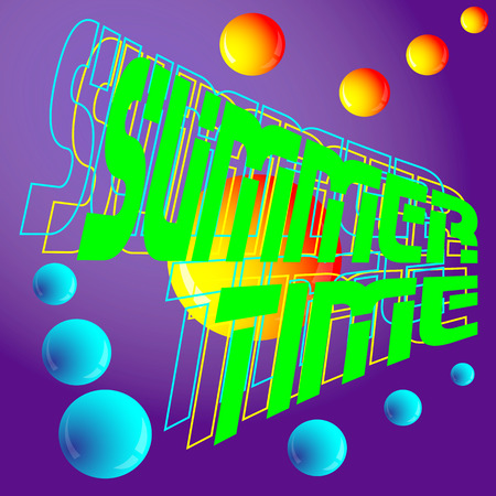 art typography summer time with 3d shapes and outline text 矢量图像