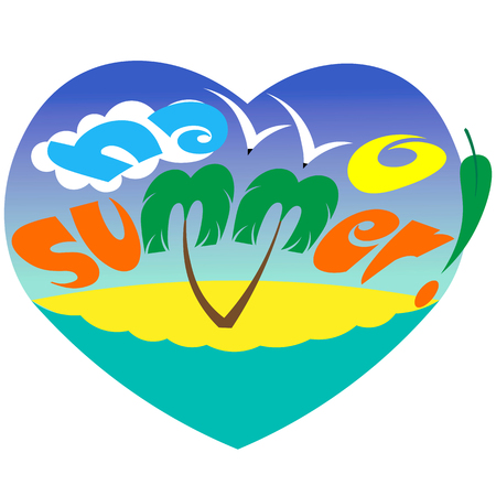 creative typography hello summer with palm sea gulls and the sun