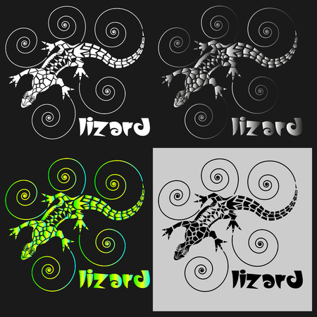 lizard from arbitrary geometric shapes with spirals for logo or print