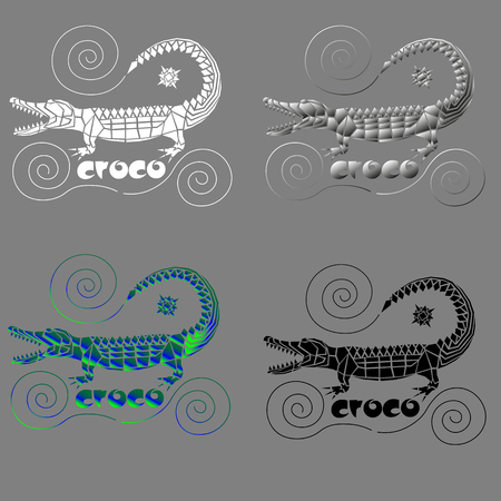 crocodile from arbitrary geometric shapes with spirals for logo or print Çizim