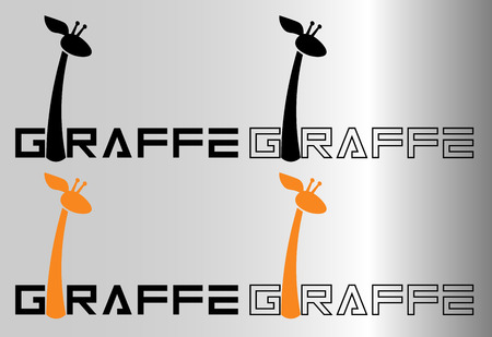 minimalist inscription with the letter i a giraffe for logos or prints
