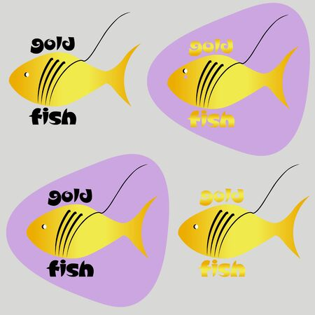 seafood logo or sticker goldfish using negative space