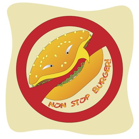 hamburger logo eating a prohibition sign in a cartoon style