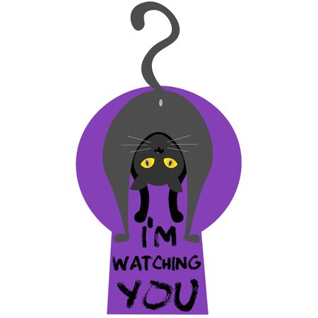 t-shirt design cartoon cat looking back with the words Im watching you